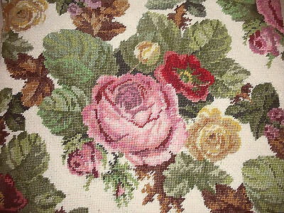 Gorgeous Vintage Needlepoint Embroidery ~Roses~
