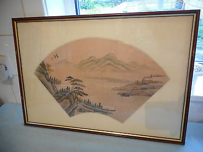 Ref 002 Framed Chinese Ink Wash Painting On Silk Signed With Lush Mountain Scene
