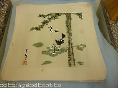 Chinese Ink Wash Painting  (Signed with artist Seal) Cranes