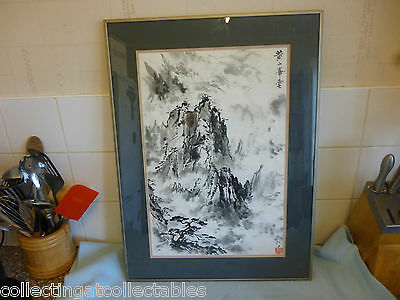 Framed Vintage Chinese Ink Wash Painting Mountain Scene (Signed)