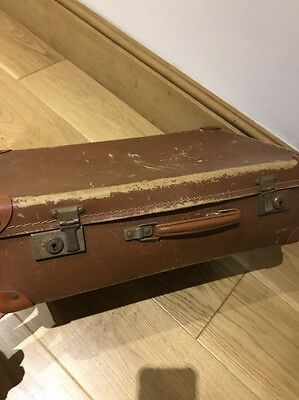 -Vintage- Small Brown Hard Leather ?suitcase Luggage Bag Storage Trunk Chest Box