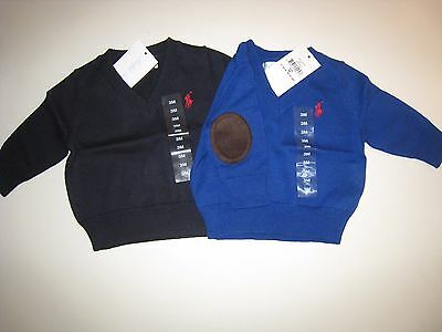 Nwt Polo Ralph Lauren Elbow Patch Cotton Sweater Pullover Baby Boy 3, 6 Months