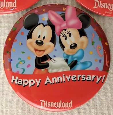 Disney Disneyland Exclusive Happy Anniversary! Button Pin Mickey Minnie RETIRED