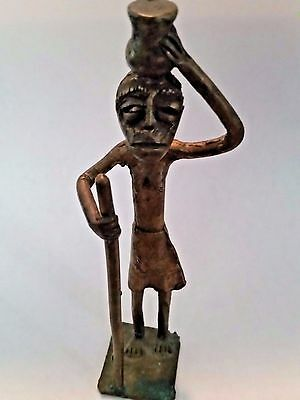 """Nice Akan/Asante Figural Goldweight, Woman Carrying Water """"Proverb Weight"""""""