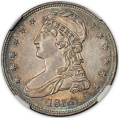 1838 Capped Bust, Reeded Edge 50C NGC MS63 (CAC)