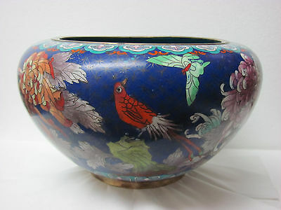 Fine Antique Large Chinese Cloisonne Bowl with Floral,Butterfly,Bird Design