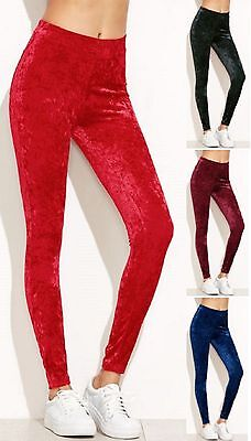 Womens Full Length Velvet Velour Leggings