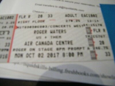 2 Tickets Roger Waters 10/2/17 Air Canada Centre---FLOOR