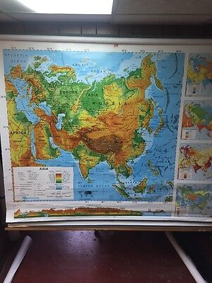 Nystrom 3 Layer Custom Map Pull Down Classroom School Asia Africa Middle East
