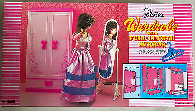 Gloria Doll Furniture Wardrobe Play Set with Full Length Mirror and Hangers