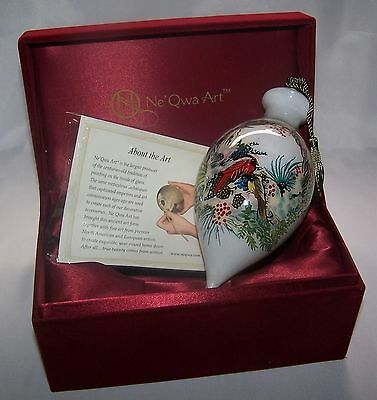 """Ne 'Qwa Reverse Painted """"Winter Wreath"""" Ornament by Peggy Abrams Cardinal Ribbon"""