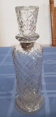"""Vintage Wine or Liquor Decanter Bottle 10"""" Tall waffle pattern no 2 7-17"""