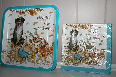Fall Autumn Paper Plates and Napkins DOGS PLAYING IN LEAVES DIGGIN THE SEASON