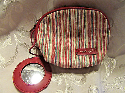 Longaberger COSMETIC Case / MAKE UP Bag with Mirror in a Striped Fabric ~ NEW