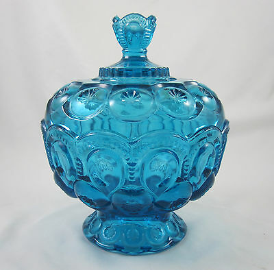 LE L.E. Smith Moon and Stars Blue Covered Pedestal Candy Dish Vintage 1970s