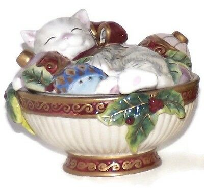 Fitz And Floyd Christmas Kitty Red Green Porcelain Small Keepsake Treasure Box