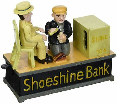 Design Toscano Shoe Shine Collectors Die Cast Iron Mechanical Coin Bank NEW