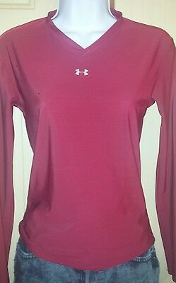 Under Armour Womens Long Sleeve All Weather Compression Top Red V Neck Medium, M