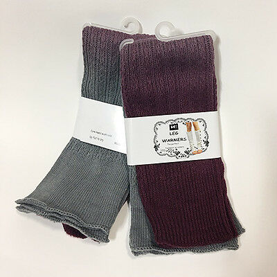 2 Pairs Women's Maroon/Gray Ombre Knit Leg Warmers