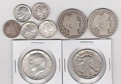 Usa 90% Junk Silver Coins Dimes & Half Dollars Including Barber $2.50 Face