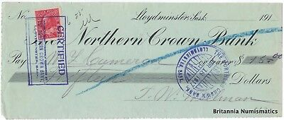 THE NORTHERN CROWN BANK Lloydminster SK Canada 1917 Cheque