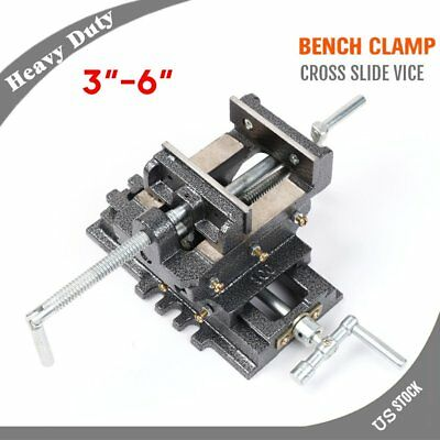 "New 3""~6"" Cross Drill Press Vise X-Y Clamp Machine Slide Metal Milling 2 Way HD"