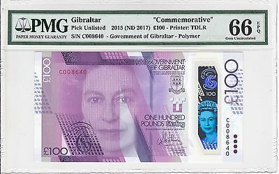 Gibraltar, 2015 (ND 2017) 100 Pounds PUnlisted PMG 66 EPQ   NR