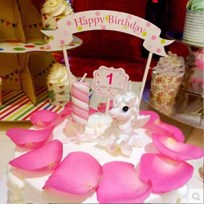 Birthday Candle Unicorn Horse Musical Cake Toppers Double-deck Magical