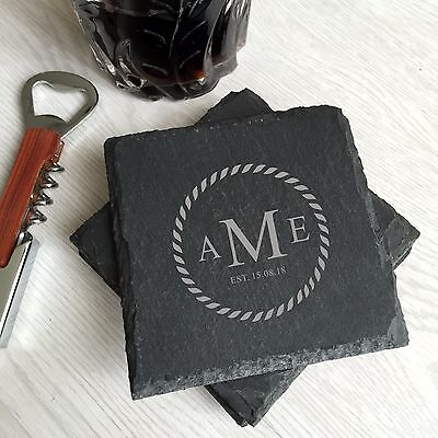 monogram letters engrave personalized custom slate bar coasters housewarming