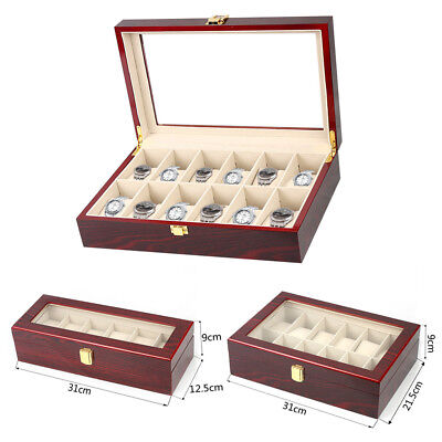 Wooden Watch Box & Glass Screen Box Case Storage Display Jewelery Gift Organiser