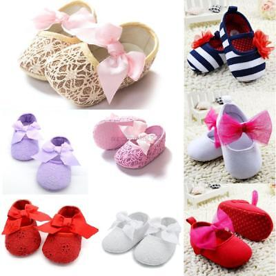 0-18M Infant Baby Soft Crib Shoes Ribbon Bowknot Flower Princess Shoes Prewalker