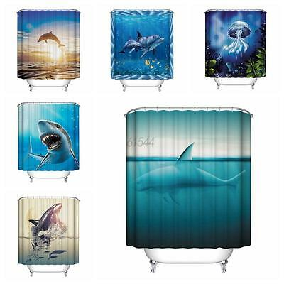 12 Hooks Waterproof Polyester Fabric Ocean Fish Pattern Bathroom Shower Curtain