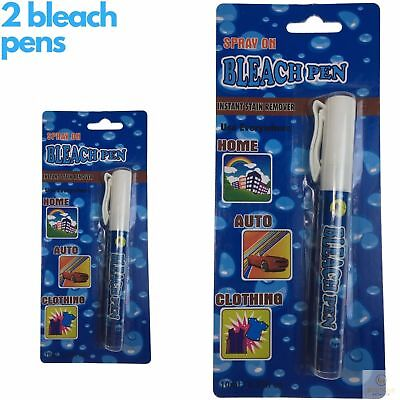 2x Spray On BLEACH PEN Instant Stain Remover Home Auto Clothing Stain Removal