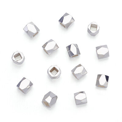 50pcs Silver Plated Alloy Column Metal Beads Faceted Loose Spacers Findings 3mm