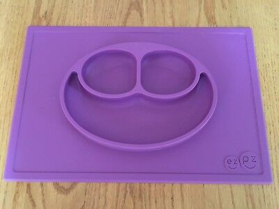 EZPZ Happy Mat Placemat Kids Mess-free Silicone Eating Plate Purple HTF!