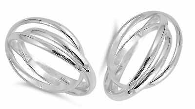 Sterling Silver 925 TRIPLE BAND WITH INTERTWINED DESIGN RINGS 2MM SIZES 4-13