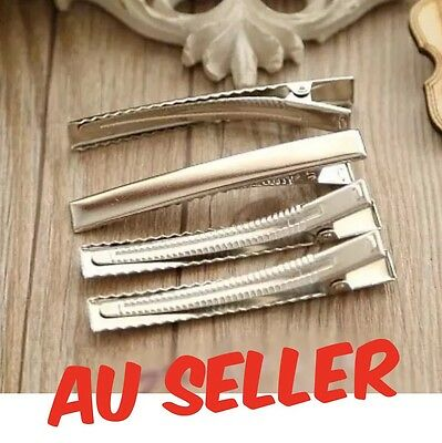 50 X 45mm BULK Silver Metal Plain Hair Clips Alligator Clips DIY Gift