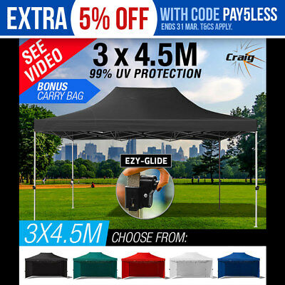 3x4.5m Gazebo Outdoor Pop Up Marquee Tent Shade Camping Ezy-Glide CRAIG Party