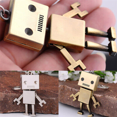 Cute Movable Metal Robot Keychain Keyring Keys Chain-Ring Bag Purse Pendant Gift
