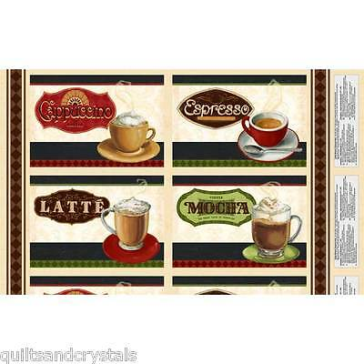 Coffee Moment PLACEMATS Fabric Panel Lisa Audit Design Wilmington 24x44""