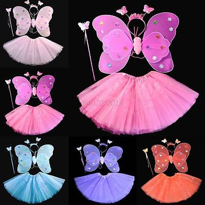 AU Baby Kids Girl Butterfly Wing Headband Xmas Halloween Party Dress Costume Set