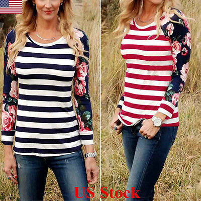 US Womens Long Sleeve Striped Pullover Loose Tops Ladies Casual T-Shirt Blouse