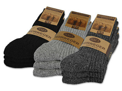 6 Paar Norweger Wollsocken in Grau oder Anthrazit Wintersocken Herrensocken