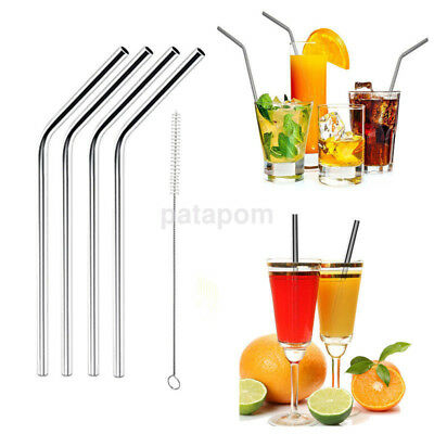 4 Straight/Bent Stainless Steel Metal Reusable Cocktail Drinking Straws +1 Brush