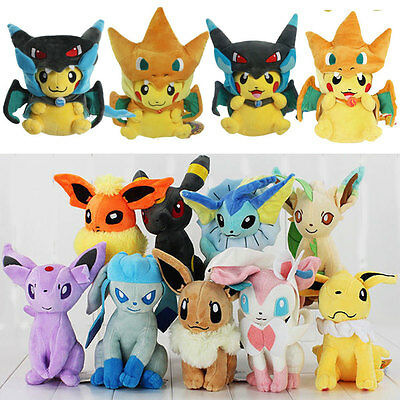 8''/20cm Pokemon Evolution Of Eevee Plush Kids Soft Toys Doll Eeveelution