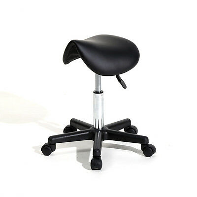 Adjustable Salon Stool Hydraulic Saddle Massage Spa Bar Chair Black PU Leather