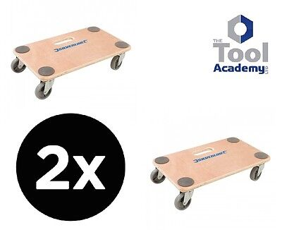 2 x Silverline General Dolly Trolley Platform Wheels 150KG Easy Move Heavy Items