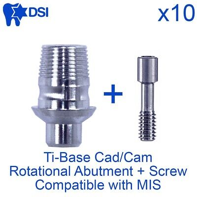10x DSI Dental Rotational CAD/CAM Ti-Base Interface Internal Hex MIS Compatible
