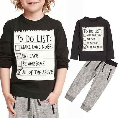 2pcs Toddler Kids Boys T shirt Tops Trousers Casual Outfit Clothes Set  2-7Years