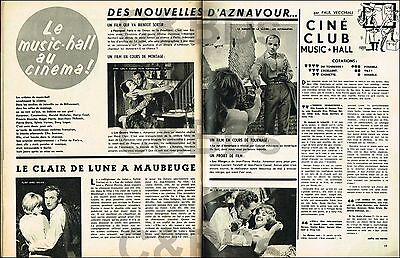 Doc/Clipping (Ref SumH 020) 11/1962 : CINEMA SYLVIE VARTAN AZNAVOUR 2pages